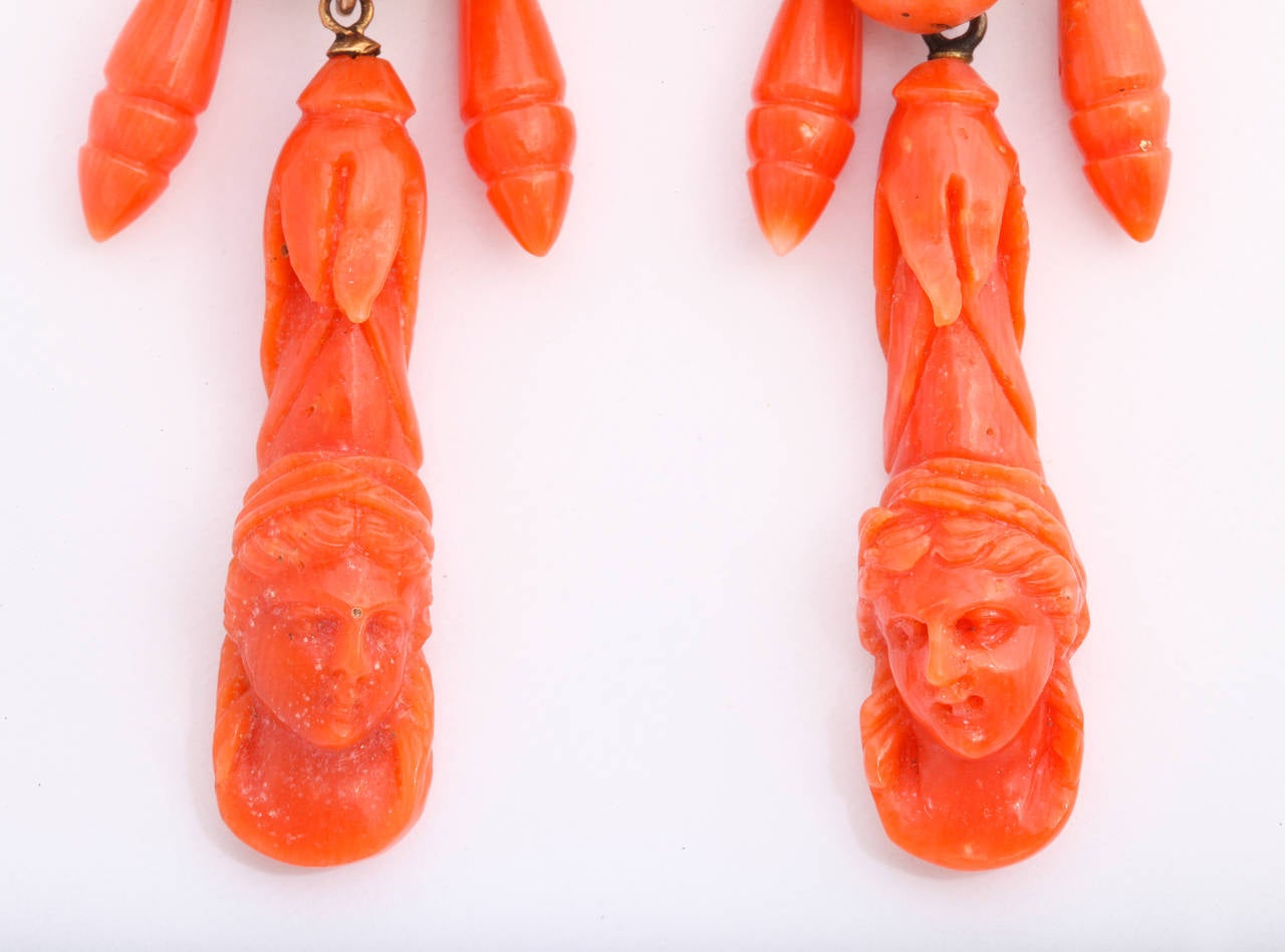 Victorian Carved Classical Neapolitan Coral Earrings 2