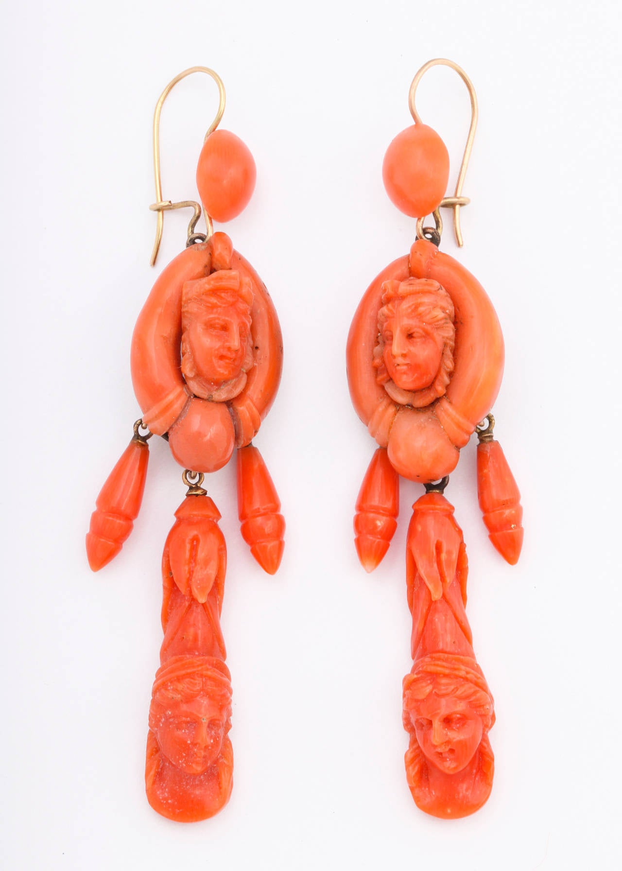 Victorian Carved Classical Neapolitan Coral Earrings 4