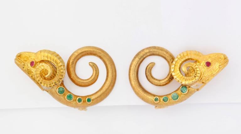 Classical Greek 1960s Lalaounis Sapphire Emerald Ruby Gold Necklace Belt and Ear Clips For Sale