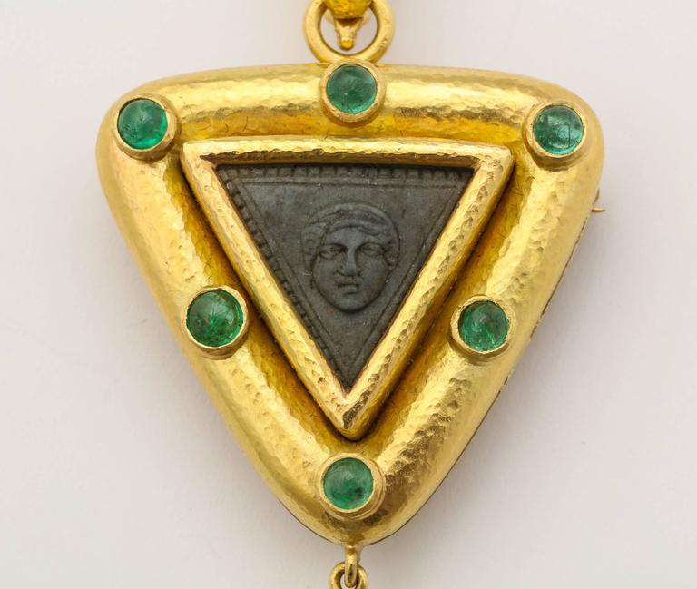 Elizabeth Locke Carved Lava Emerald Gold Pendant Brooch 5