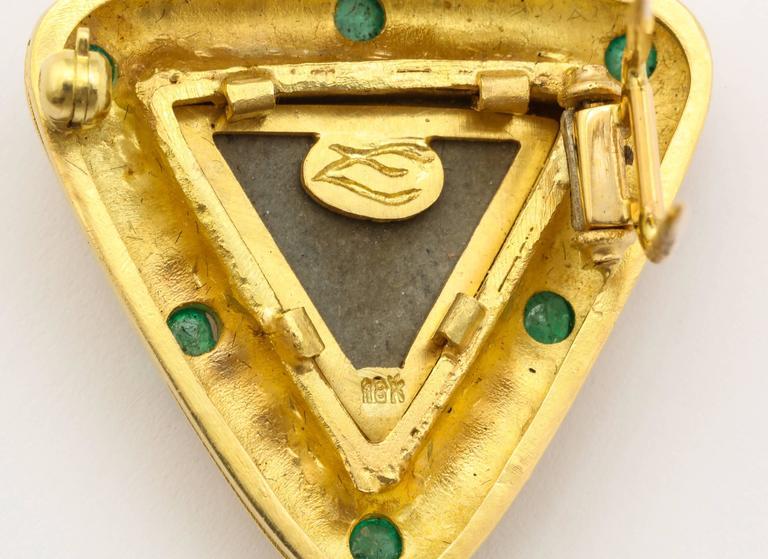 Elizabeth Locke Carved Lava Emerald Gold Pendant Brooch 6