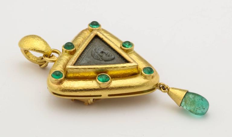 Elizabeth Locke Carved Lava Emerald Gold Pendant Brooch 7