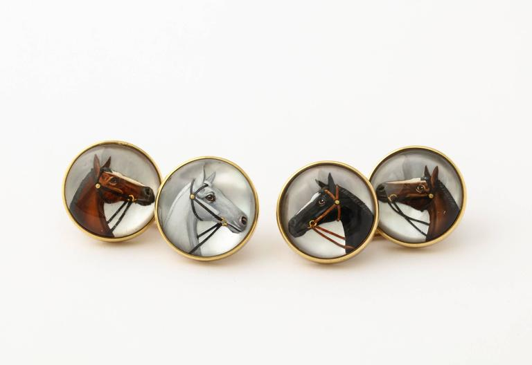 Horse Head Reverse Painted Intaglio Crystal Gold Cufflinks For Sale 1