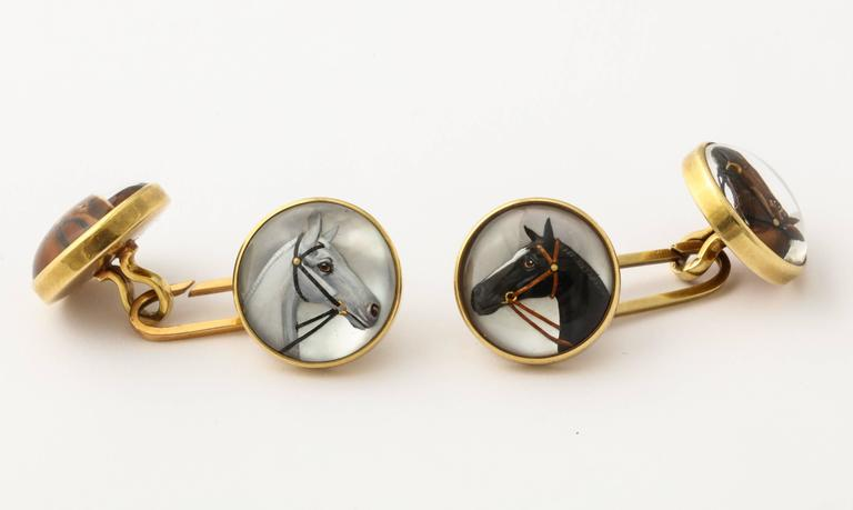 Horse Head Reverse Painted Intaglio Crystal Gold Cufflinks For Sale 2