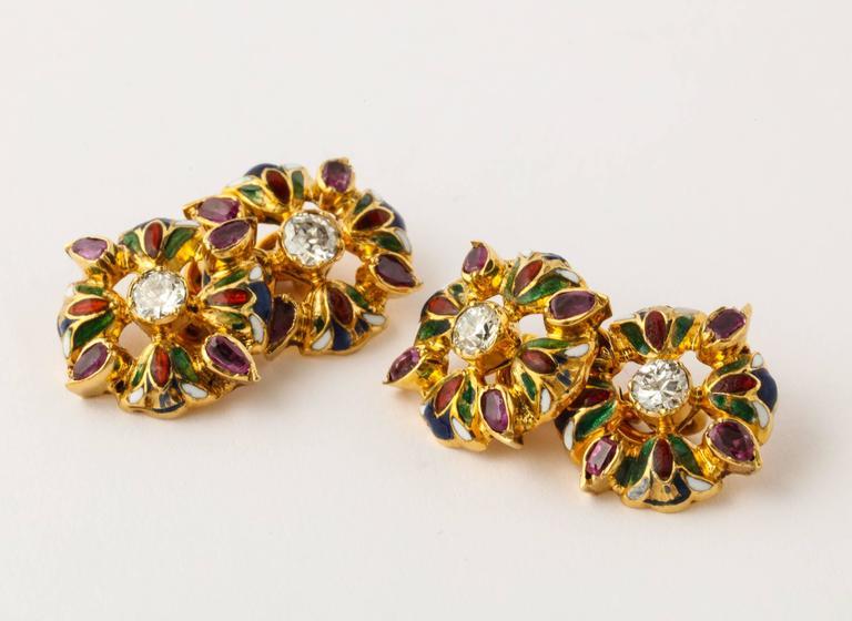 Men's Egyptian Lotus Flower Diamond Ruby Enameled Gold Cufflink and Stud Set For Sale