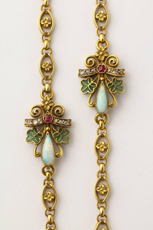 1890s Antique Art Nouveau Long Opal Plique-a-Jour Gold Chain 3