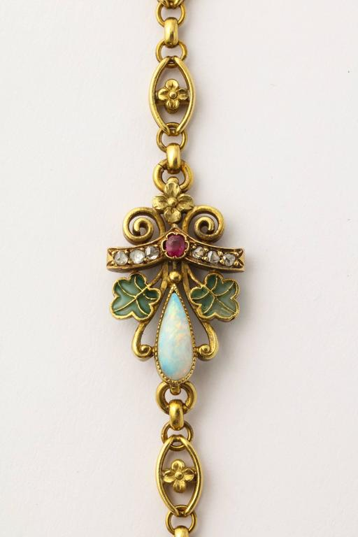 1890s Antique Art Nouveau Long Opal Plique-a-Jour Gold Chain 10