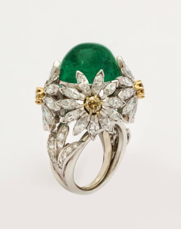 Women's Hendryk Kaston Diamond Emerald Ring Convertible Fancy Yellow Diamond Dome