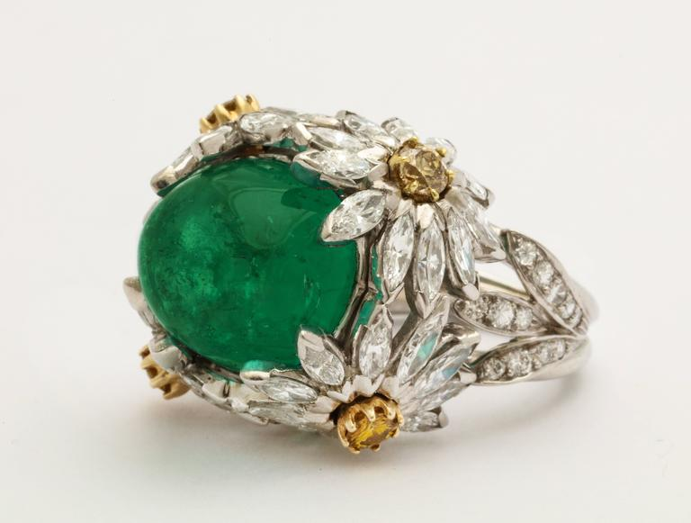 Hendryk Kaston Diamond Emerald Ring Convertible Fancy Yellow Diamond Dome 1