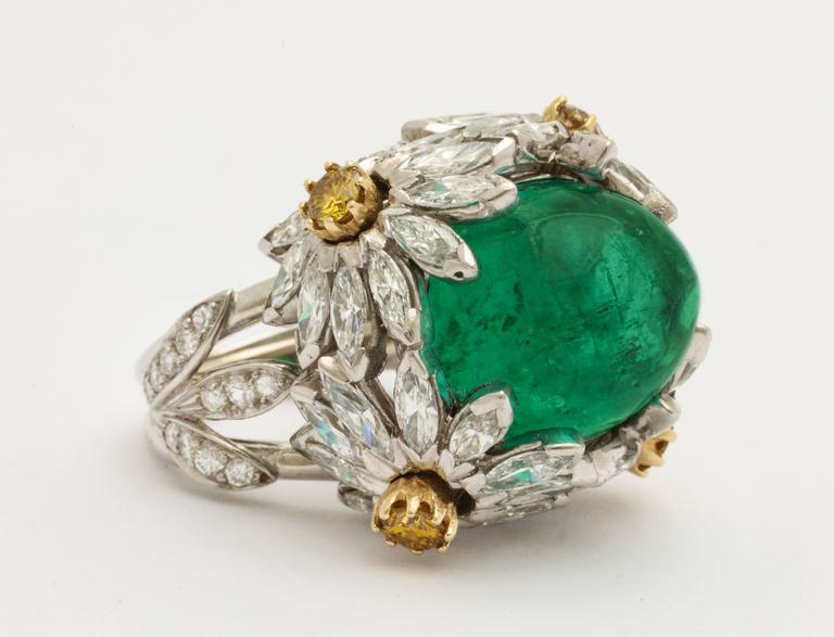 Hendryk Kaston Diamond Emerald Ring Convertible Fancy Yellow Diamond Dome 2