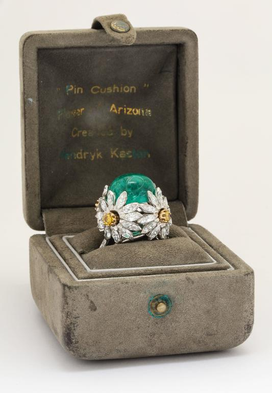 Hendryk Kaston Diamond Emerald Ring Convertible Fancy Yellow Diamond Dome 3