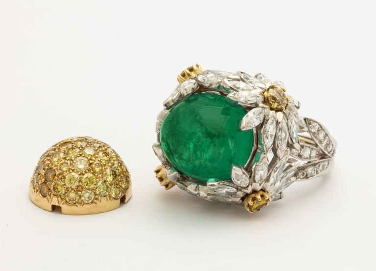 Hendryk Kaston Diamond Emerald Ring Convertible Fancy Yellow Diamond Dome In Excellent Condition In New York, NY