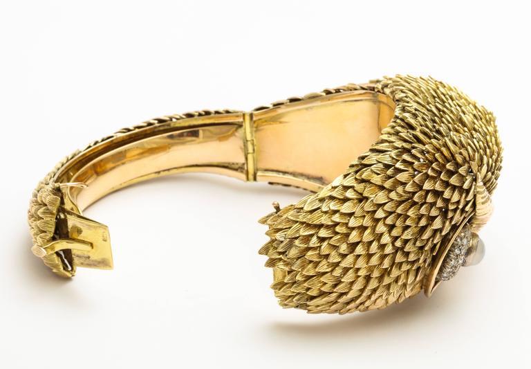 Women's 1960s Custom-Made Diamond Moonstone Gold Owl Bracelet For Sale