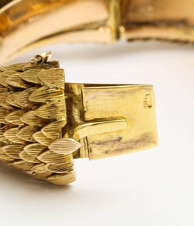 1960s Custom-Made Diamond Moonstone Gold Owl Bracelet For Sale 1
