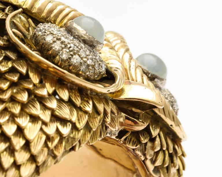 1960s Custom-Made Diamond Moonstone Gold Owl Bracelet For Sale 3