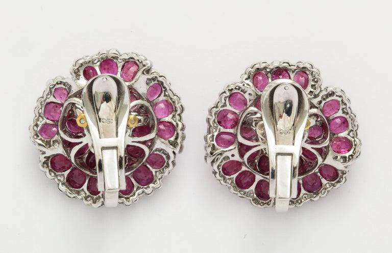 Women's Sophia B. Ruby Diamond Floral Ear Clips For Sale