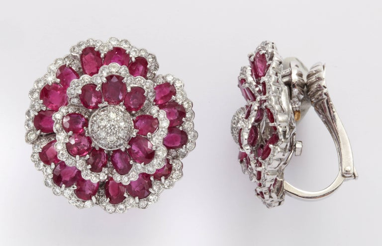 Sophia B. Ruby Diamond Floral Ear Clips In Good Condition For Sale In New York, NY