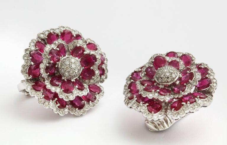Sophia B. Ruby Diamond Floral Ear Clips For Sale 1