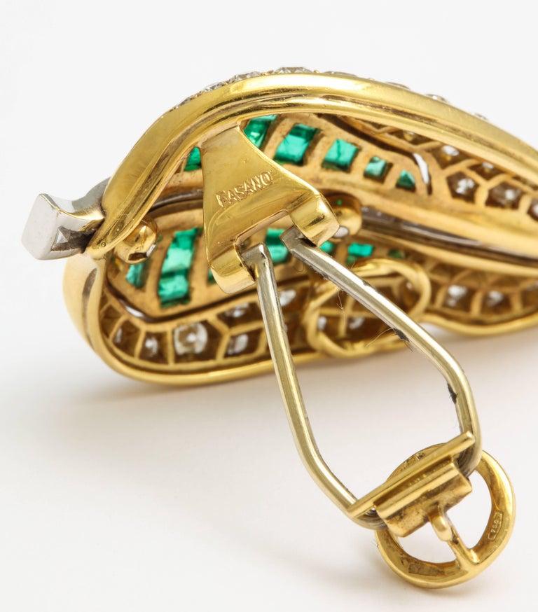 Women's Fred Leighton Emerald Diamond Ear Clips For Sale