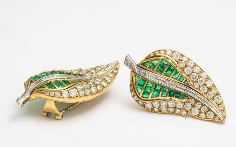 Fred Leighton Emerald Diamond Ear Clips In Good Condition For Sale In New York, NY