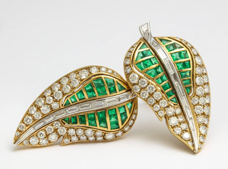 Baguette Cut Fred Leighton Emerald Diamond Ear Clips For Sale