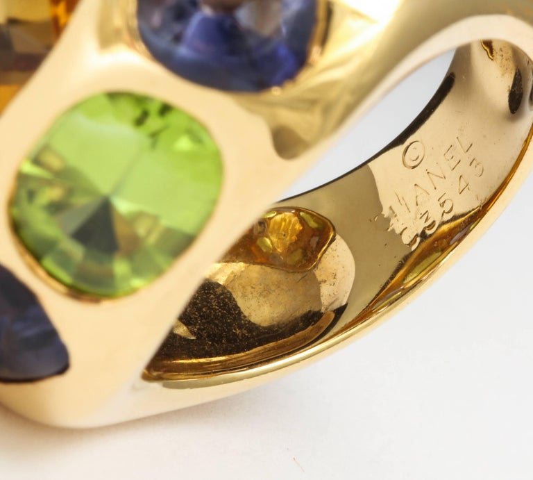 Women's Chanel Peridot Amethyst Citrine Gold Ring For Sale