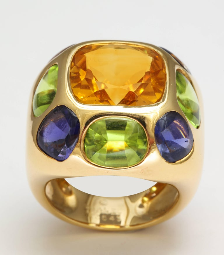 Chanel Peridot Amethyst Citrine Gold Ring In Excellent Condition For Sale In New York, NY