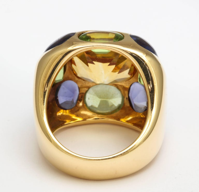 Chanel Peridot Amethyst Citrine Gold Ring For Sale 3