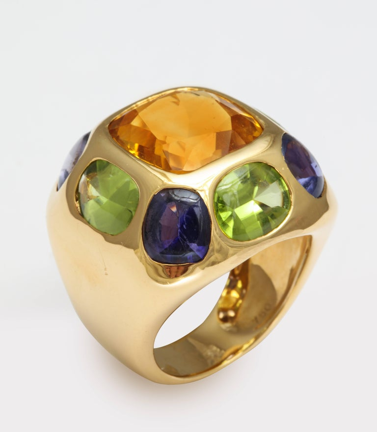 Chanel Peridot Amethyst Citrine Gold Ring For Sale 1