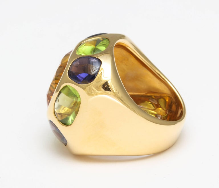 Chanel Peridot Amethyst Citrine Gold Ring For Sale 2