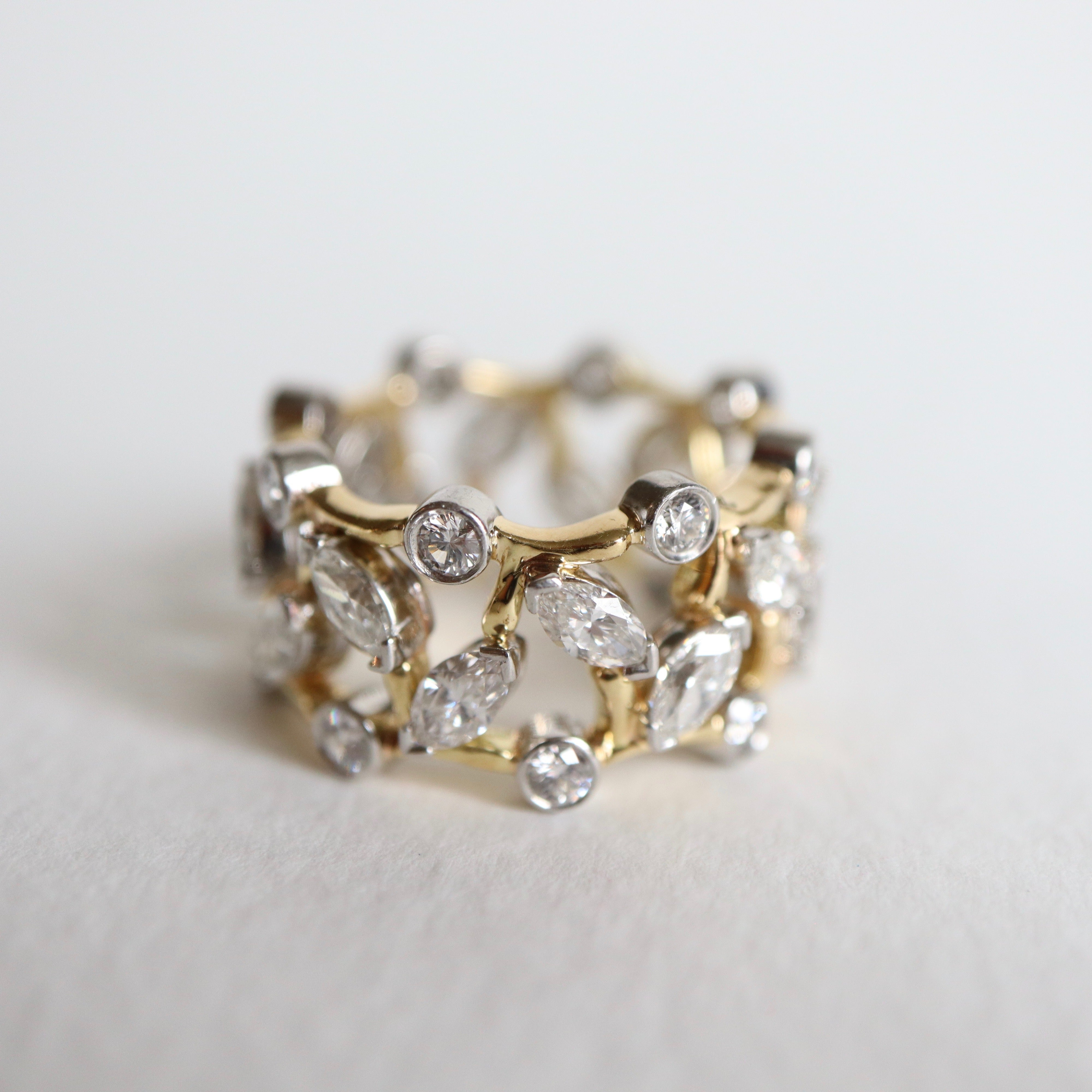 9367d56e688ae Tiffany's & Co. Gold and Platinum Ring Set with 16 Shuttle Diamonds 0.8  Carat