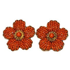 1940s Coral Gold Flower Earrings