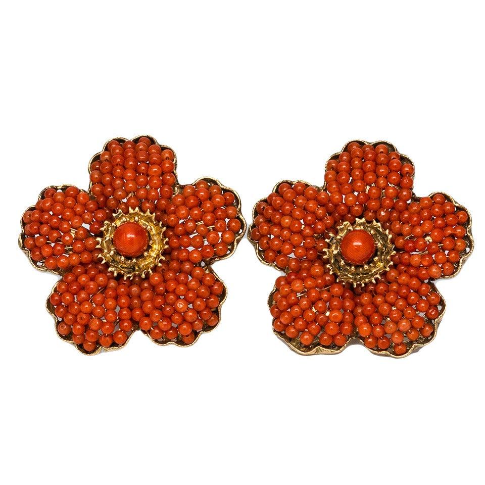 1940s Coral Gold Flower Earrings