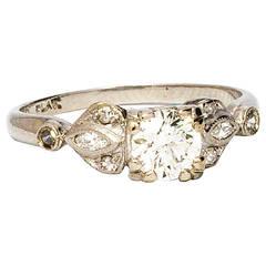 Diamond Engagement Ring 0.51 Carat Transitional Cut Round Brilliant, 1940s