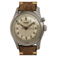 Vulcain Cricket Stainless Steel Alarm Wristwatch circa 1950s