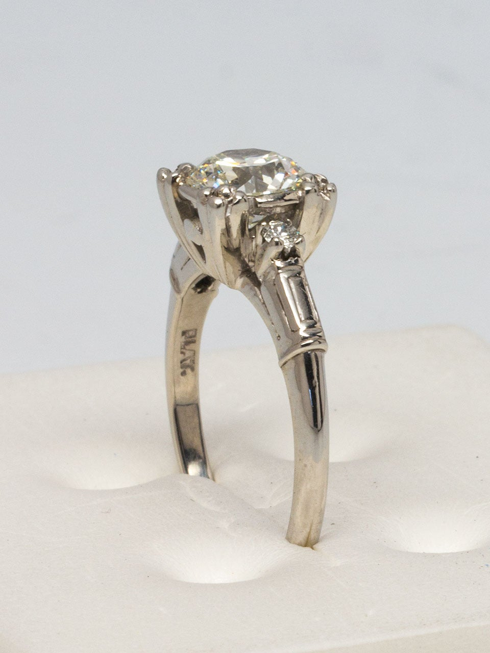 1950s Platinum and Diamond Engagement Ring For Sale at 1stdibs