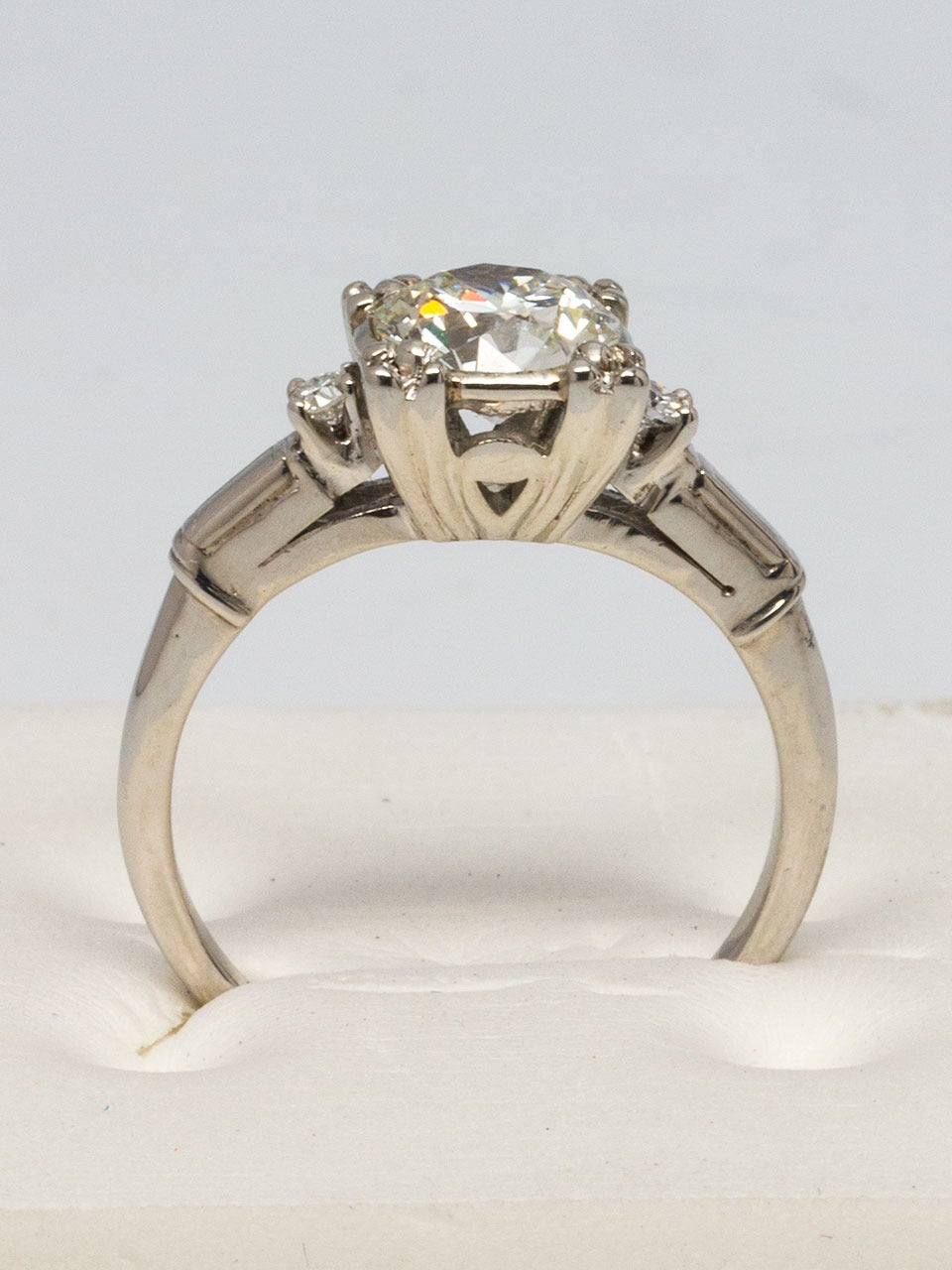 1950s Platinum and Diamond Engagement Ring at 1stdibs