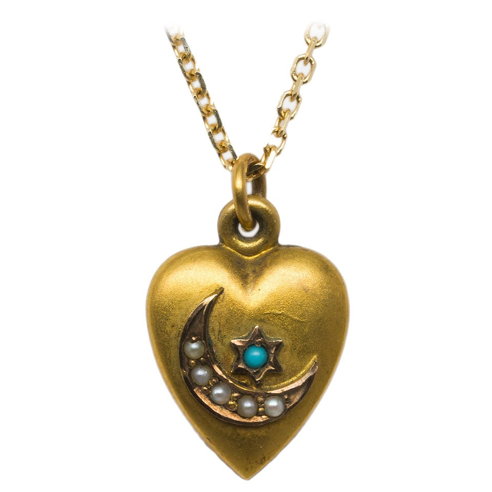 Victorian Crescent Moon and Star Gold Heart Locket For Sale