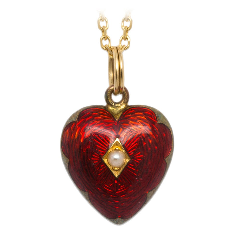 Victorian Era Enamel Gold Heart Locket 1