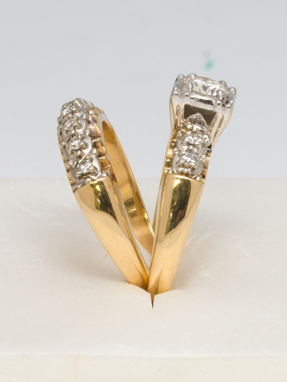 1950s Yellow Gold and Diamond Wedding Ring Set 2
