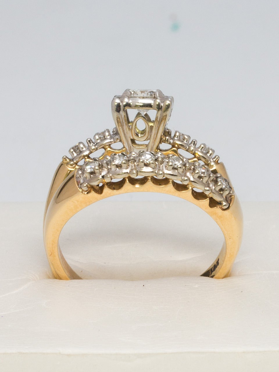 1950s Yellow Gold and Diamond Wedding Ring Set 4
