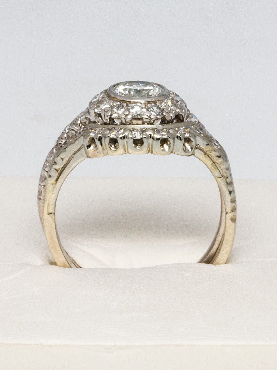 1960s Diamond Platinum Gold Wedding Ring Set For Sale At