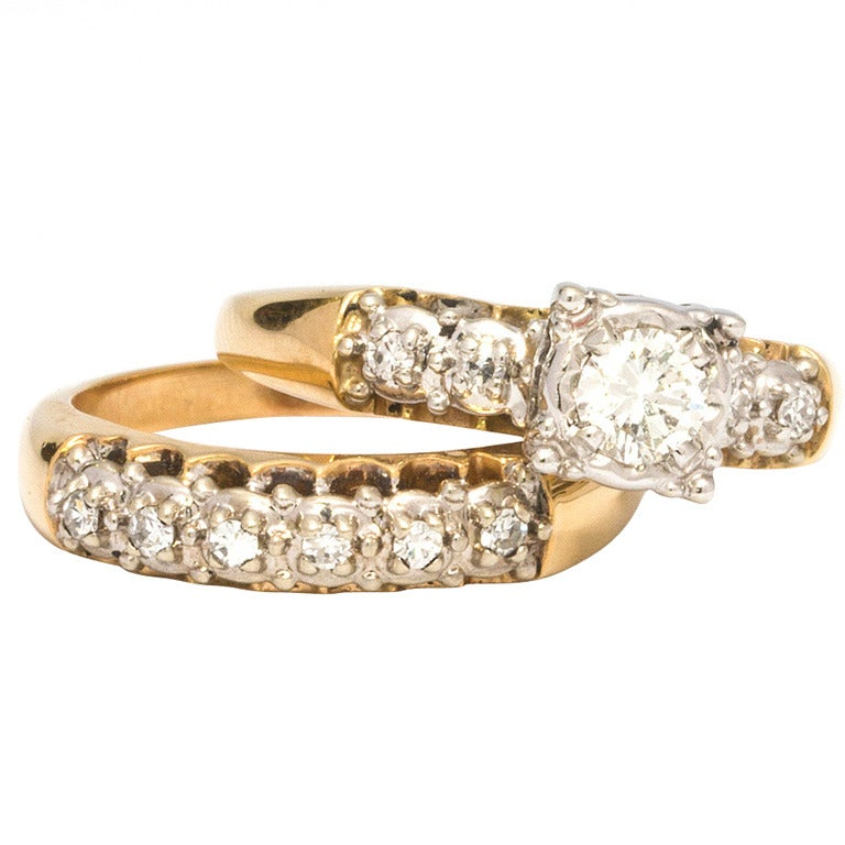 1950s yellow gold and diamond wedding ring set 1 - Wedding Rings Yellow Gold
