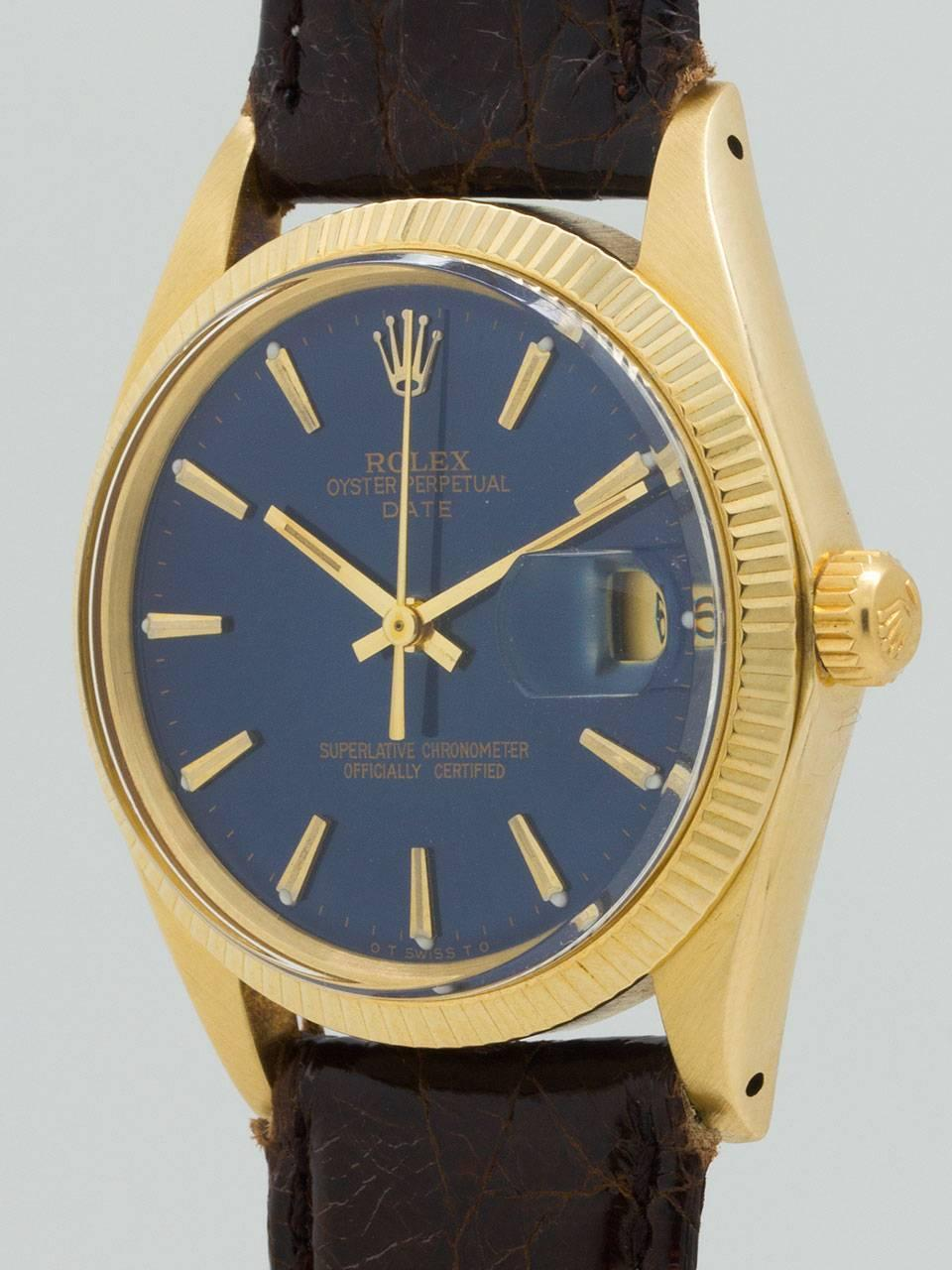 rolex yellow gold oyster perpetual date wristwatch ref