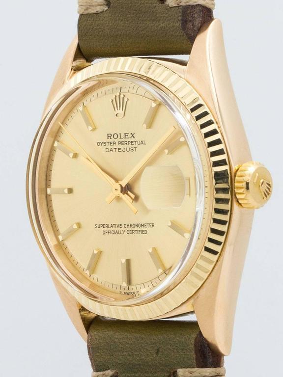 Rolex Yellow Gold Datejust Wristwatch Ref 1601 3