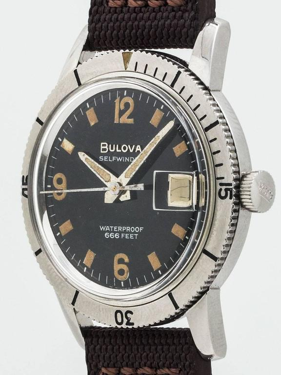 Bulova Stainless Steel Diver's Wristwatch Ref 386-1  In Excellent Condition In West Hollywood, CA