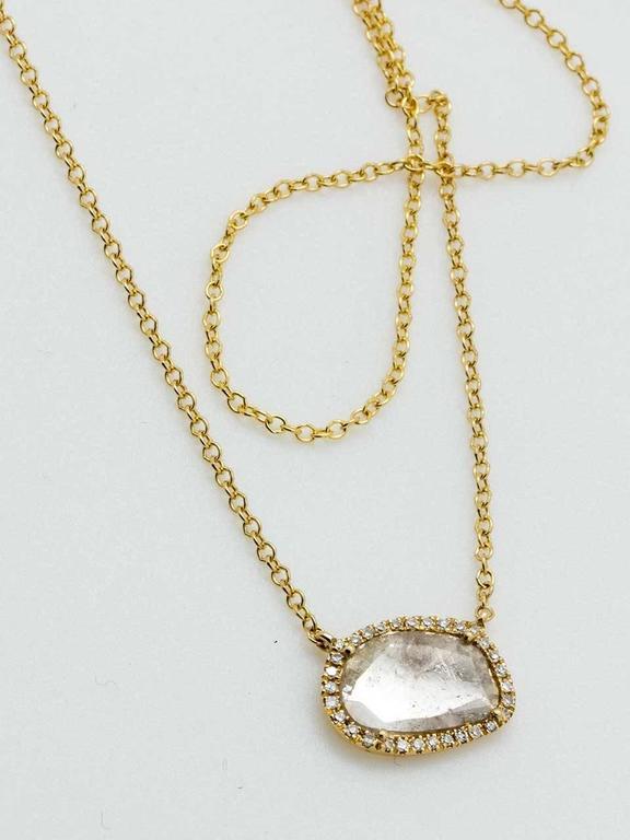 Contemporary Yellow Gold Diamond Slice Pendant Chain Necklace 2