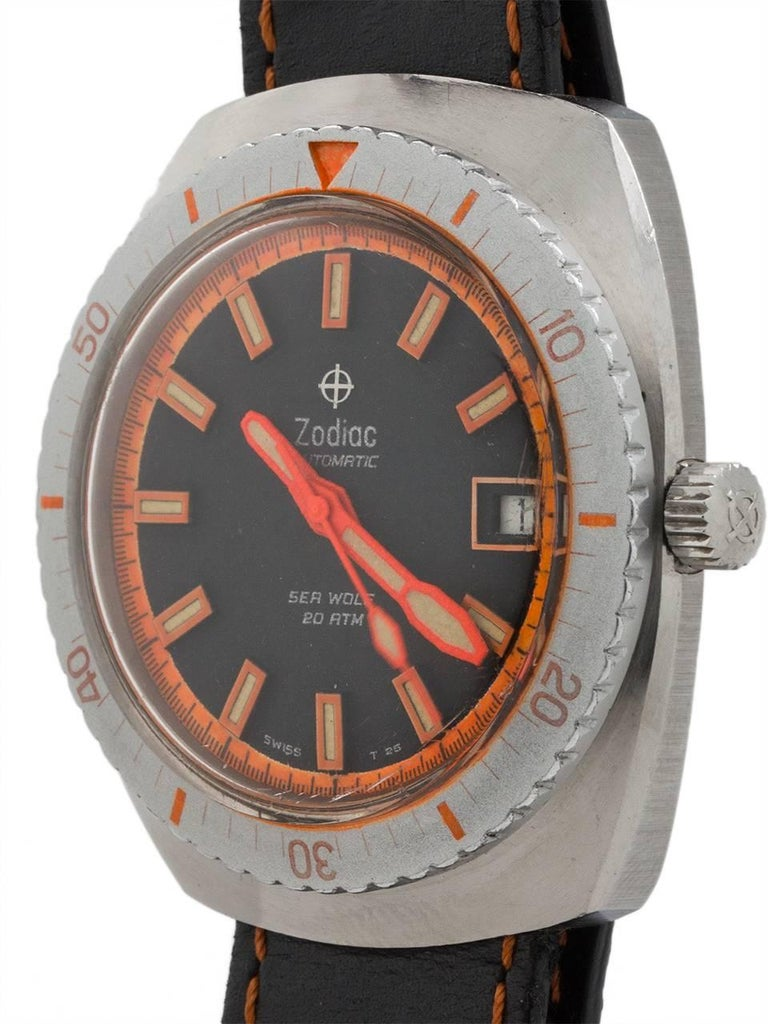 Zodiac Stainless Steel Seawolf Diver's Automatic Wristwatch, circa 1970s In Excellent Condition For Sale In West Hollywood, CA