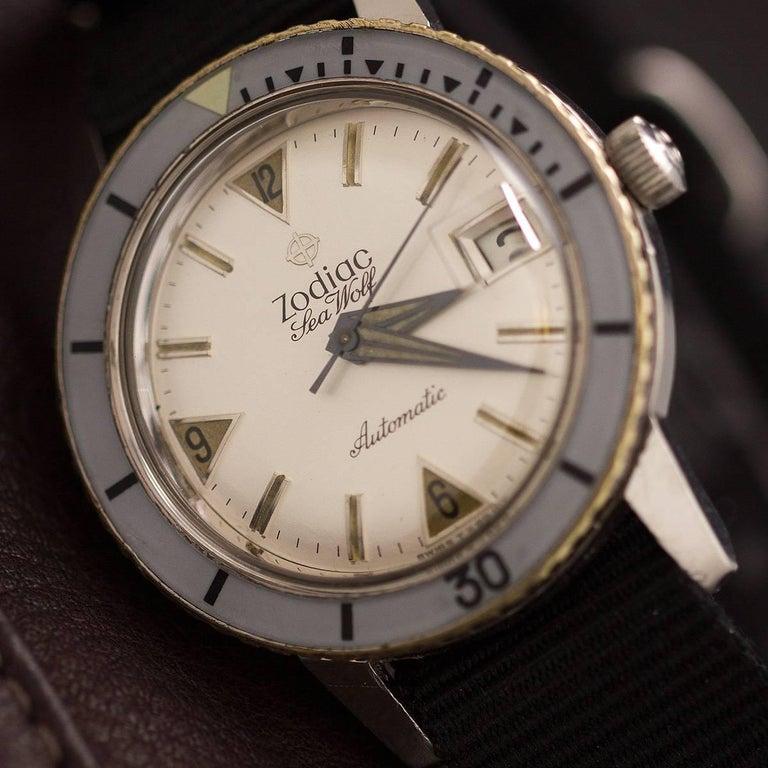 Men's Zodiac Stainless Steel Seawolf Self Winding Wristwatch, circa 1960s For Sale