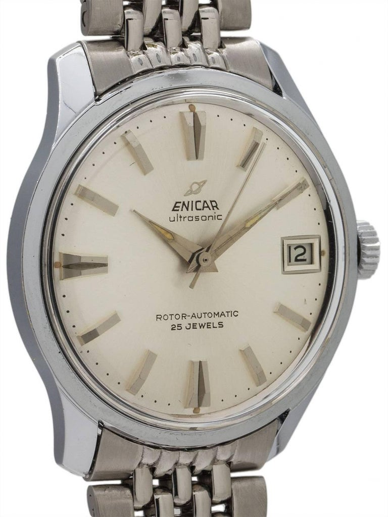 "Enicar stainless steel ""ultrasonic"" self winding ref 125/001 mid century design dress model circa 1960's. Featuring mint condition 34 X 40mm case with contoured lugs with screw down caseback with engraved Enicar logo, acrylic crystal, mint"